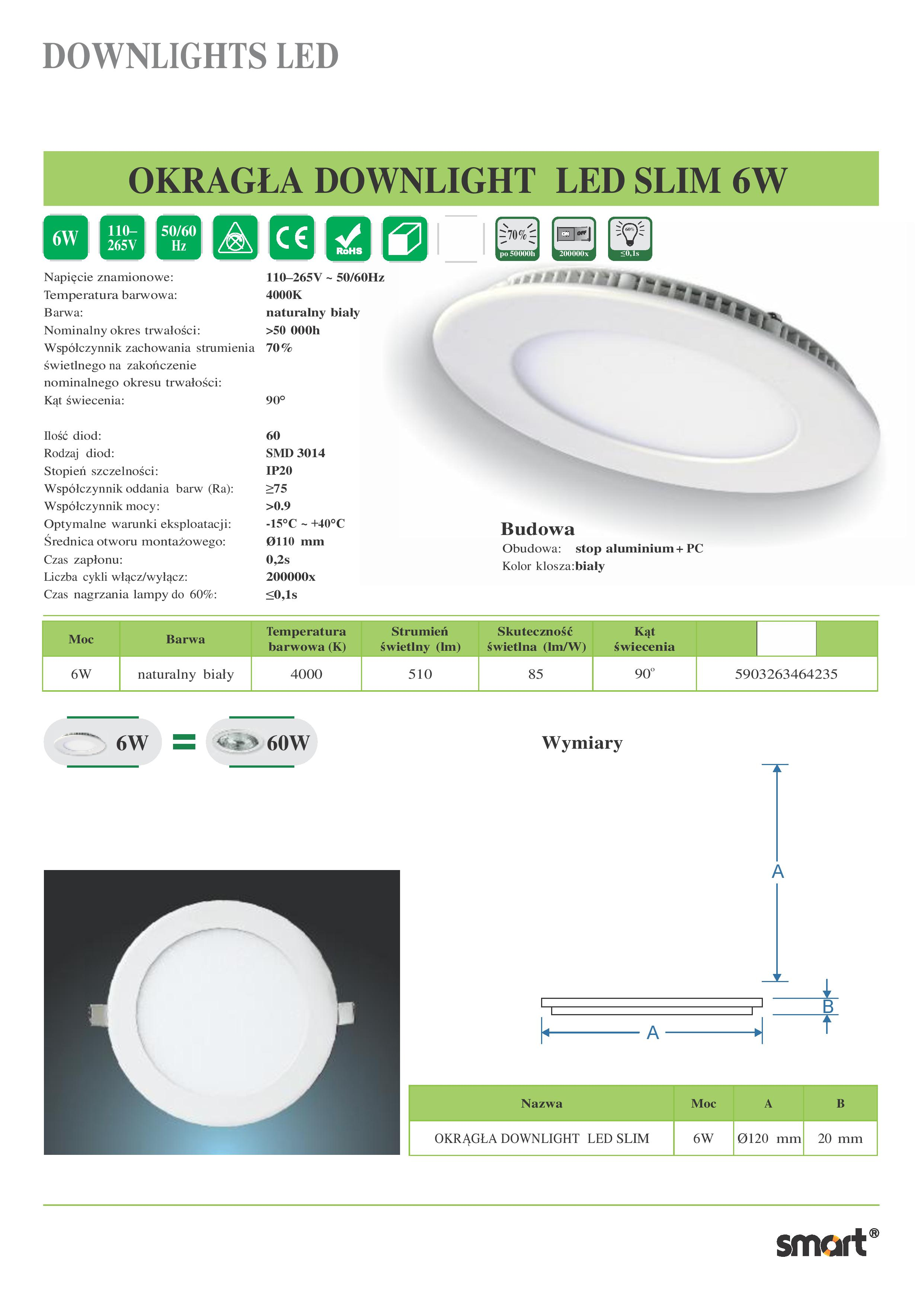 OKRAGLA-DOWNLIGHT-LED-SLIM-6W